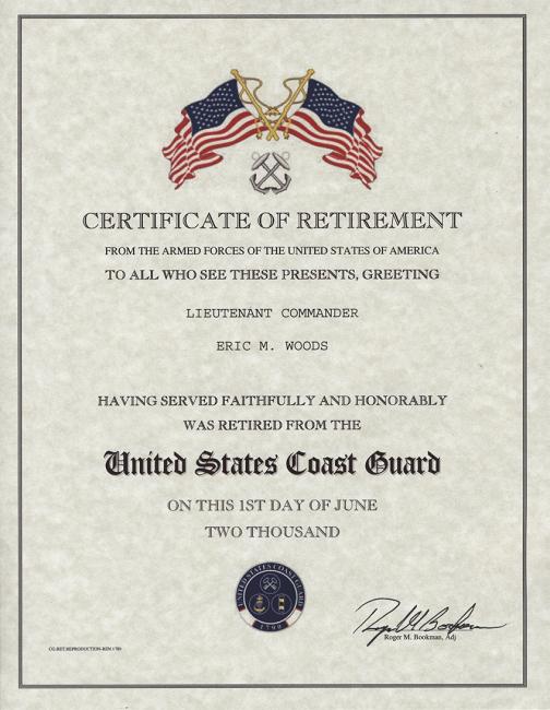 retirement certificate Retirement Certificate US Coast Guard