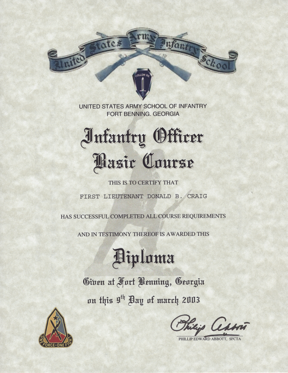 Army Infantry Officer Basic Course Certificate