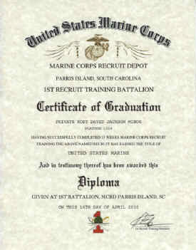 Marine corps recruit training mcrd parris island mcrd san diego click sample certificate to enlarge yadclub Choice Image