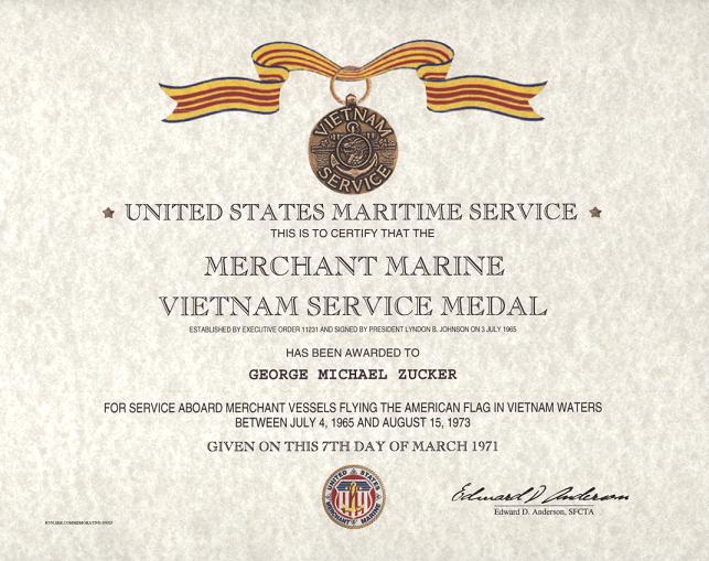 Merchant Marine Vietnam Service Medal Certificate