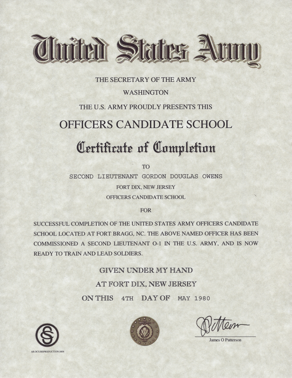 Officers Candidate School Certificate